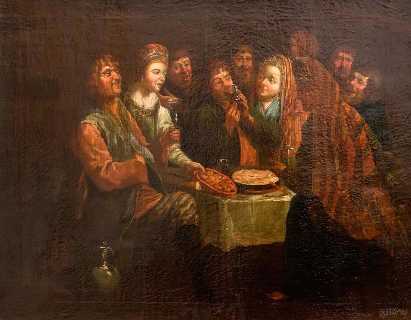 Крестьянская пирушка. Конец. 1760-нач. 1770. Вишняков А.И., 1751::Приглашение к обеду. Поваренная книга