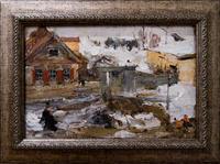 Зимний дворик. 1917 (?). Фешин  Н.И.