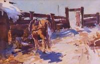 На скотном дворе. 1910-е. Фешин Н.И.