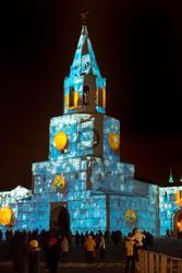 Световое шоу на Спасской башне Казанского Кремля