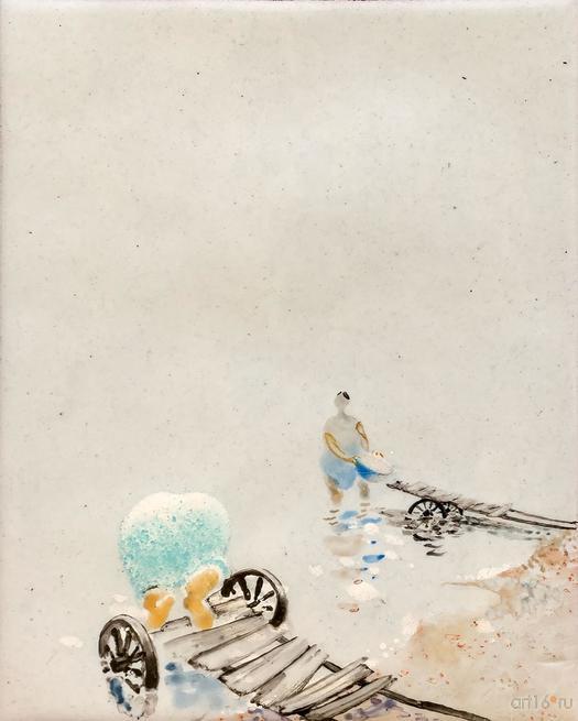 Постирушки на мостках. 2015. Р.Сафиуллин::Полет над Черным озером. Рашит, Чингиз и Анастасия Сафиуллины
