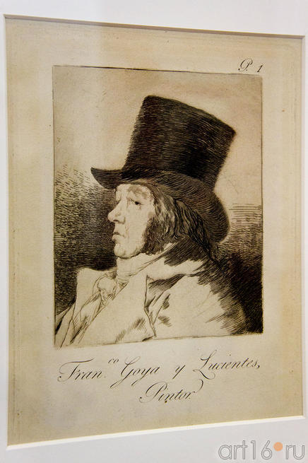 Франсиско Гойа-и-Лусиентес, художник (автопортрет), 1797-1798, 1-й лист серии Капричос. Франсиско Гойя.
