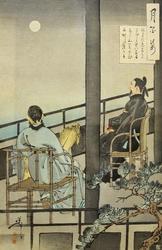 Накамаро наблюдает за луной в Китае. 1888.  Цукиока Ёситоси / Тайсо Ёситоси (1839-1892)