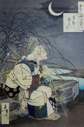 Луна и ступа. 1886. Цукиока Ёситоси / Тайсо Ёситоси (1839-1892)
