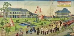 Утагава Хиросигэ II (1826-1869). План английского легиона в Блаффлэнд, Йокогама. 1850-1869.(?)