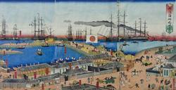 Утагава Садахидэ (1807-1873). Лист из серии ''Виды побережья Йокогама''