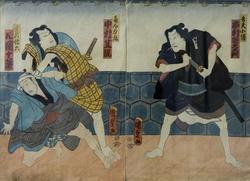 Утагава Кунисада II (1823-1880). Актеры театра Кабуки. 1862