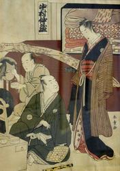 Кацуква Сюнсё (1726-1792/93). Жанровая сцена в интерьере