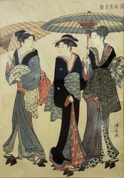 Тории Киёнага ( 1752-1815). Три гейши под дождем. 1783