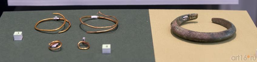 Височные кольца (IV-II вв. до н.э.) /серьги (IV-III вв. до н.э.) /браслет (V-IV вв.до н.э.)::Выставка «Кочевники Аркаимских степей»
