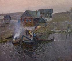 В рыбацком поселке. 1984. Прокопьев А.Л.1922-1993