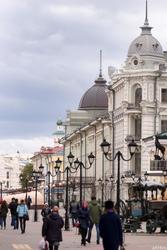 Ул. Баумана, вид на гостиницу Казань и Никольский собор