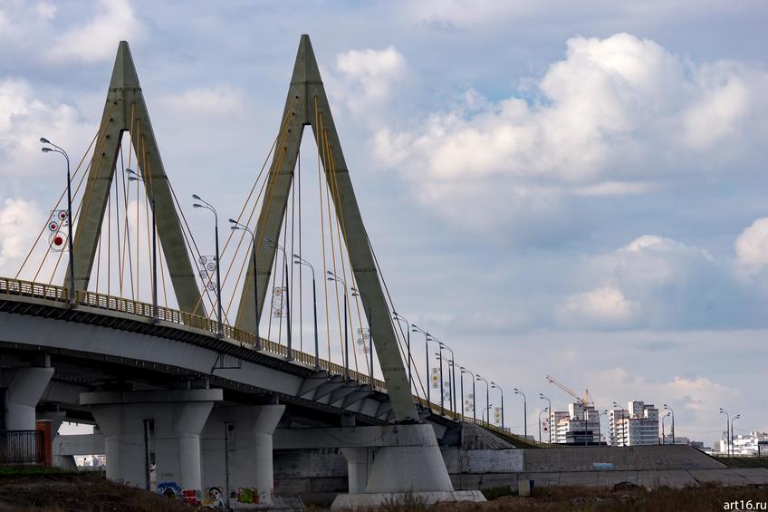 Мост Миллениум, вид с левого берега Казанки::Казань, осень, природа