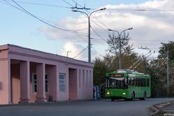 Трамвайно-троллейбусная остановка в Речном порту. Октябрь 2016