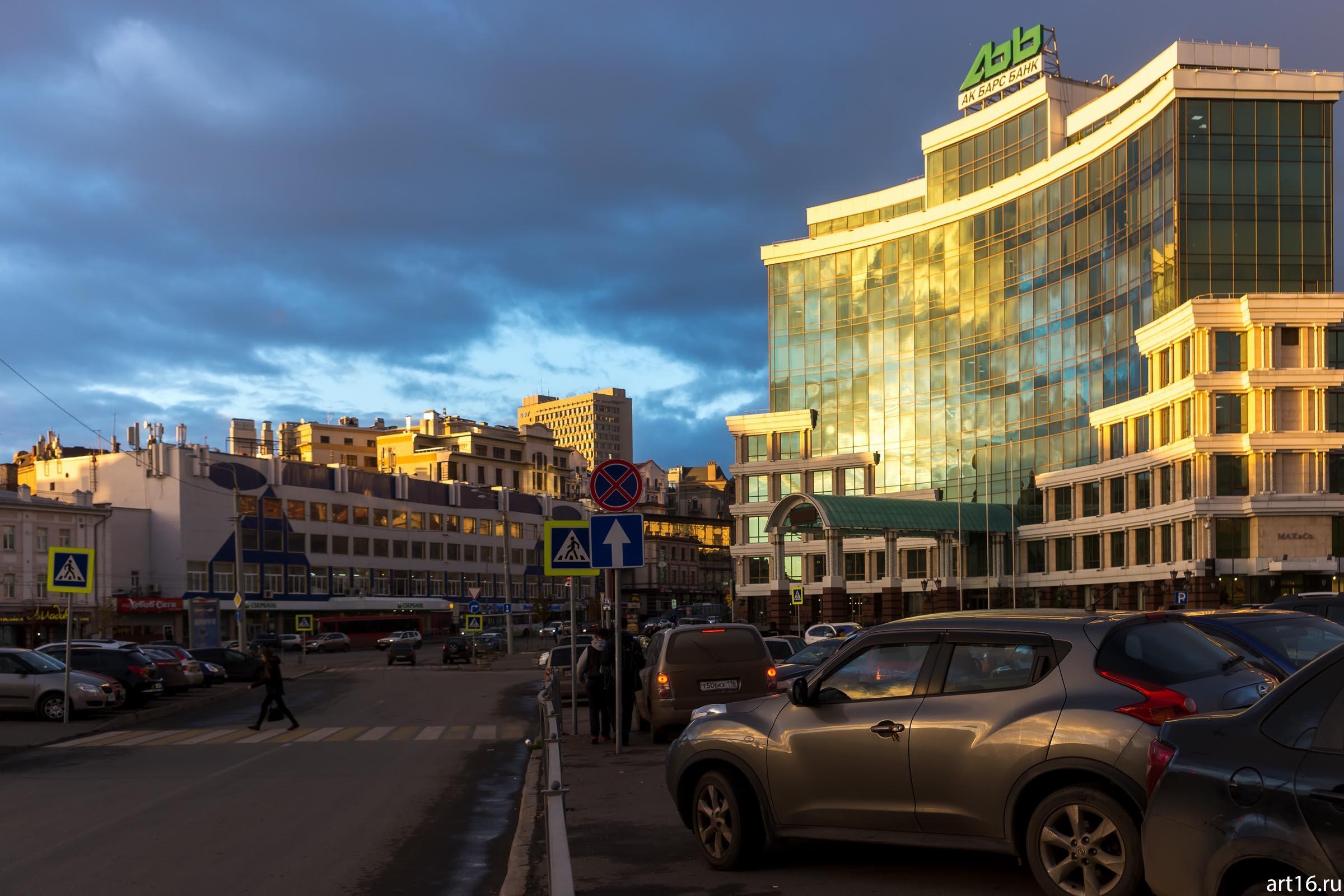 Здание пенсионного фонда::Казань, закат, сумерки, ночь