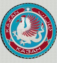 Рушан Шамсутдинов. Эмблема Казань. Бум. темпера, 28*28, 1991