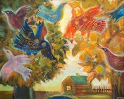 Елена Ермолина. 1969 Райский апельсиновый сад. 2009 Фанера, масло