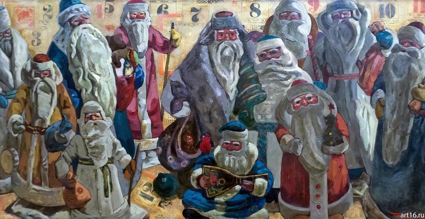 Елена Титова. 1974 Двенадцать месяцев. 2012 Холст, масло::Новогодние истории нереальных героев. Кукольные сезоны