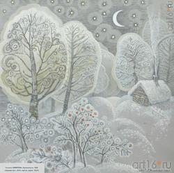 Татьяна ЗИМИРЕВА. Архангельск, 1958. «Зимний лес», 2014. картон, акрил, 70x70
