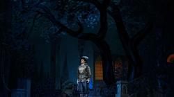 Действие второе. Картина вторая.  Лунной ночью в саду Сандомирского замка, у фонтана, мечтает Самозванец о Марине