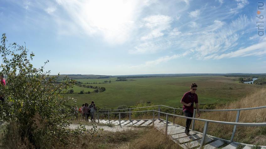 Лестница, ведущаяя вверх от Больших Дивов. Вид на долину реки Тихоя Сосна::Дивногорье. 2017 сентябрь