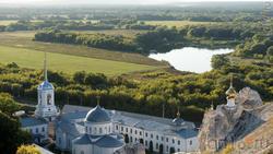 Вид на Дивногорский  Успенский монастырь, долину Дона и Тихой Сосны