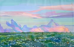 С.Б. Медведева. «Вечернее облако», 2018, Бумага, гуашь, 38x58