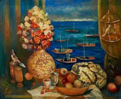 Натюрморт на фоне залива. 2009. Абзгильдин А.А. 1937