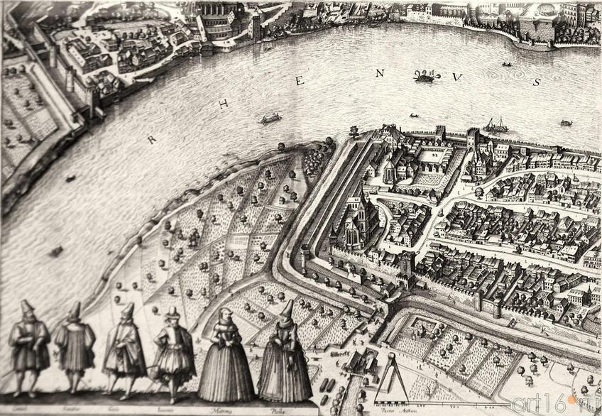 Фото №96145. Вид Базеля. 1615.  (фрагмент). Маттеус Мериан I (1593 -1650)