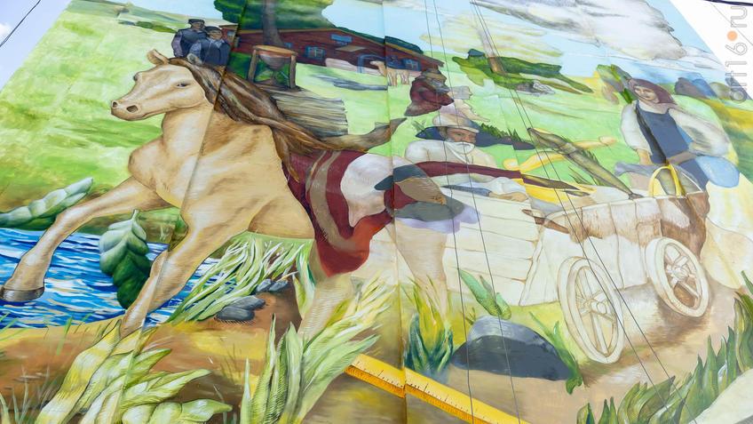 Фрагмент мурала-портрета Ризы Фахретдинова. Автор: Дима Fatum (Украина)::Паблик-арт программа «Сказки о золотых яблоках»