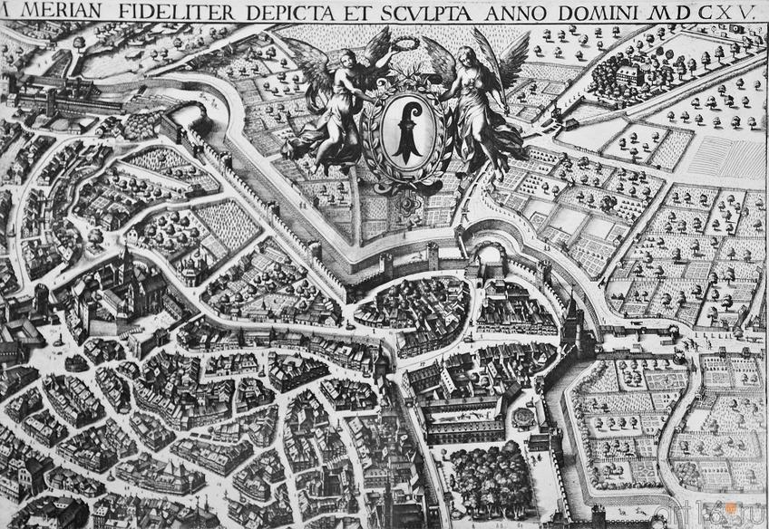 Фото №96153. Вид Базеля. 1615.  (фрагмент). Маттеус Мериан I (1593 -1650)