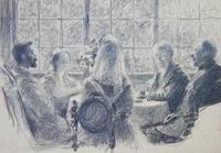 Искусствоведы  из Эрмитажа в Доме отдыха ученых в Детском селе. 1922. Визель Э.О.