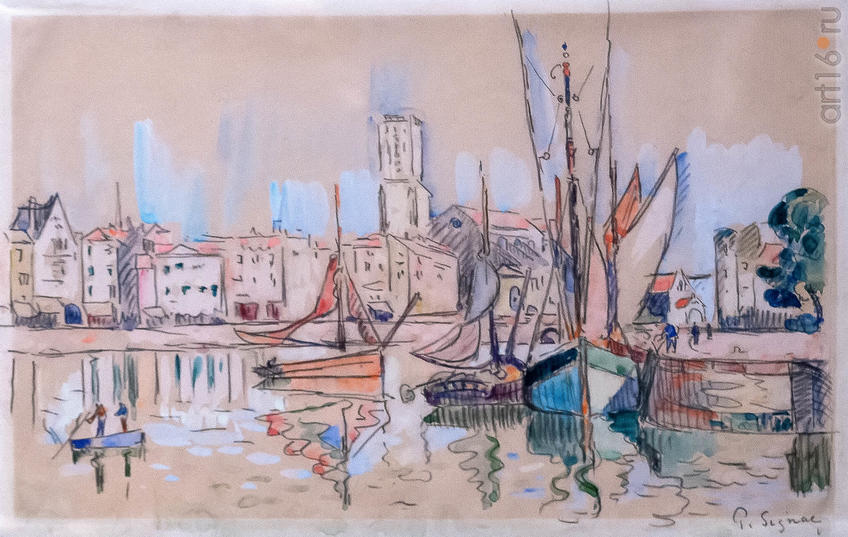 Фото №963534. Парусники у причала в Онфлёре. Около 1920. Поль Синьяк (1863-1935), Франция