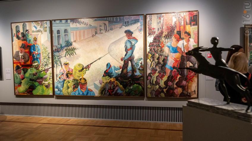Фото №963653. Борьба и смерть товарища Эгльхофера (триптих). 1932-33. Генрих Эмзен (1886-1964)