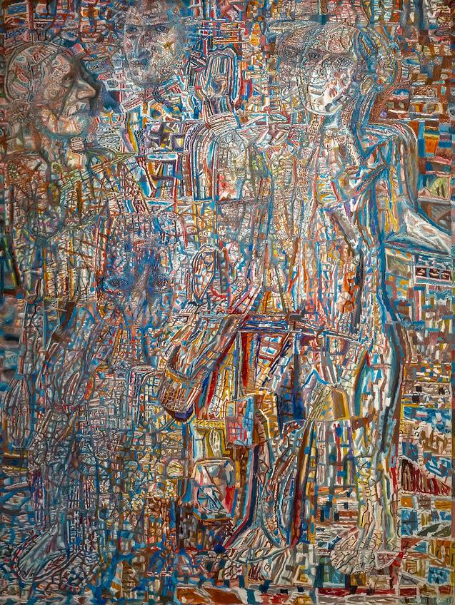 Люди (мозаичный фон). Середина 1930-х. Павел Николаевич Филонов. 1883-1941::Павел Филонов «Глаз видящий, глаз знающий»