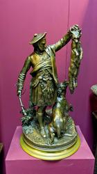 По мотивам Пьера Жюля МЕНА (шотландские охотники). Двое соревнующихся бронзовых охотника, образующих парные статуэтки