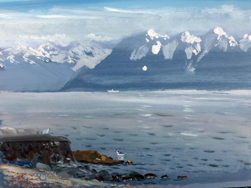 Альпы на закате 2018 к.,м 20х30::Фото для статей