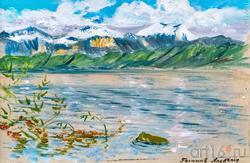 Женевское озеро. Горы в снегк. 2017. Альберт Галимов