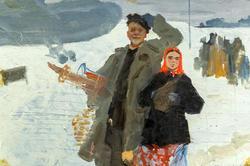 Самолет в деревне, 1952, Фаттахов Л.А.; картон, масло