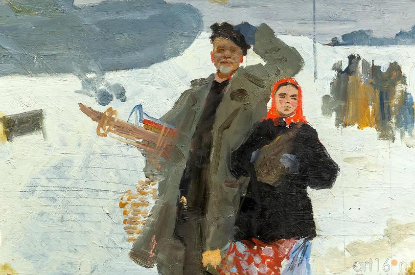 Самолет в деревне, 1952, Фаттахов Л.А.; картон, масло ::Выставка к 100-летию ТАССР