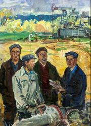 Бригада нефтяников, 1980. Куделькин В.И.; картон, масло