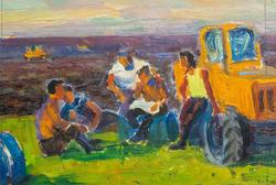 Трактористы. 1963, Старостин П.Н; картон, масло
