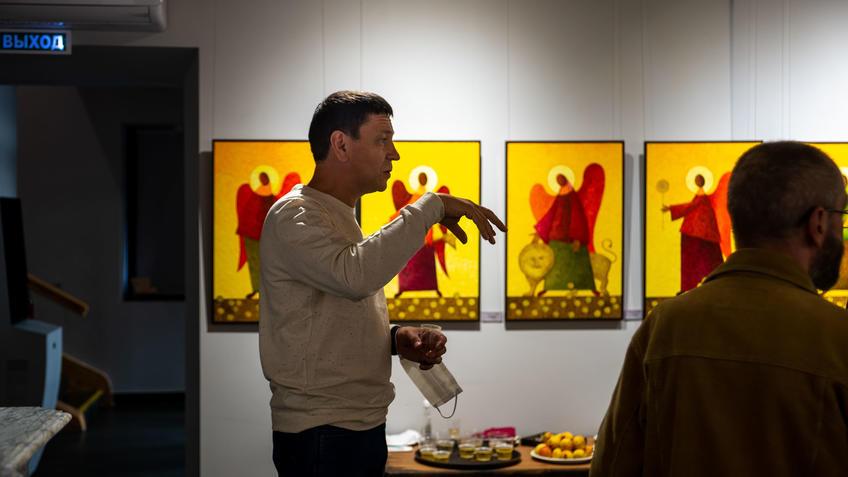 На открытии выставки «Фантазии» В.Белова и М. Григорьевой::Выставка «Фантазии». Владимир Белов и Марина Григорьева