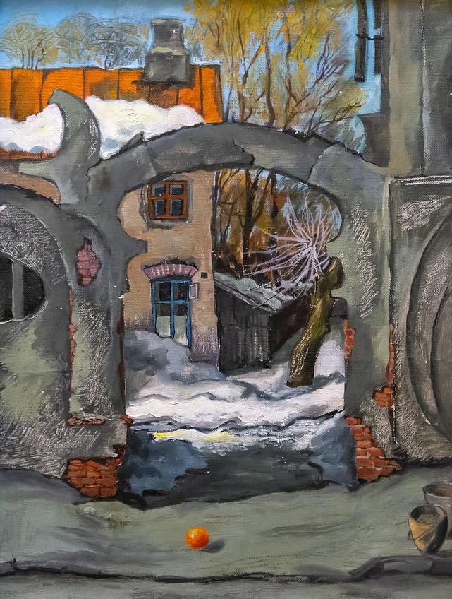 Дворик. 1996. Фаттахов Рустем Шайгалеевич (1946-2019)::Выставка 6 молодых художников. Взгляд через 50 лет. 1970-2020