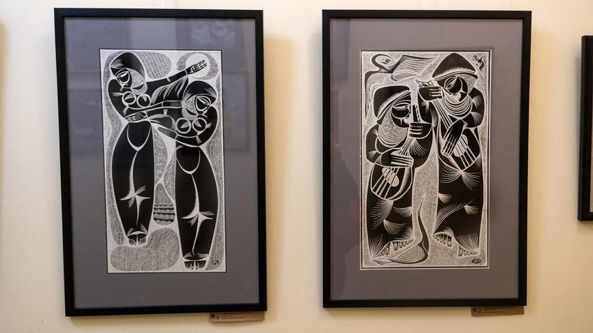 Танец. 1970 / Песня. 1970. Альмеев Надир Усманович (1946)::Выставка 6 молодых художников. Взгляд через 50 лет. 1970-2020