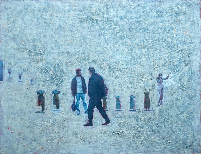На выставке (2). 1994. Нестеренко Владимир Александрович (1947)::Выставка 6 молодых художников. Взгляд через 50 лет. 1970-2020
