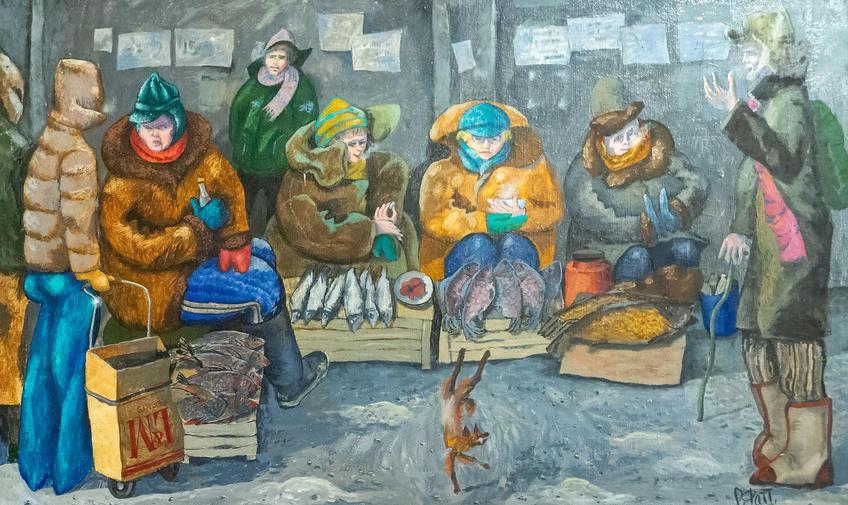 Рыбный базарчик. 2005. Фаттахов Рустем Шайгалеевич (1946-2019)::Выставка 6 молодых художников. Взгляд через 50 лет. 1970-2020