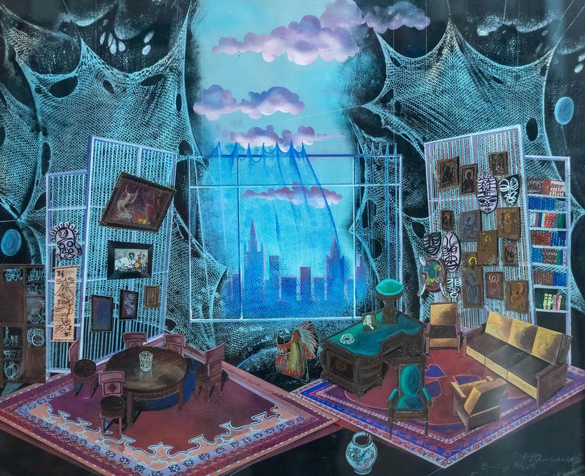 Эскиз декорации к пьесе Розова ʺГнездо глухаряʺ. Альмеев Надир Усманович (1946)::Выставка 6 молодых художников. Взгляд через 50 лет. 1970-2020