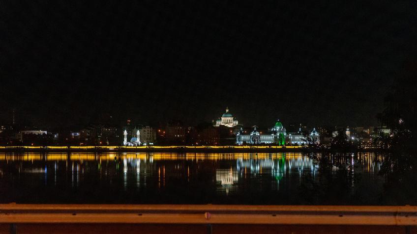 Вид на левый берег Казанки вечером, Казань::Ночная прогулка по Казани