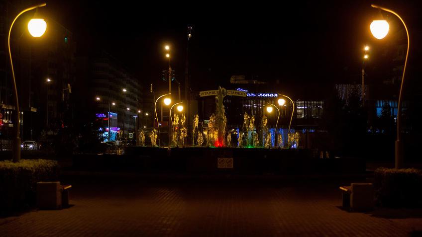 Фонтан в сквере Стамбул, Казань::Ночная прогулка по Казани